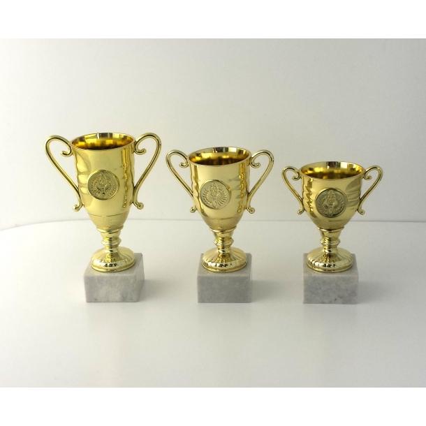 Lille guld pokal i 3 størrelser