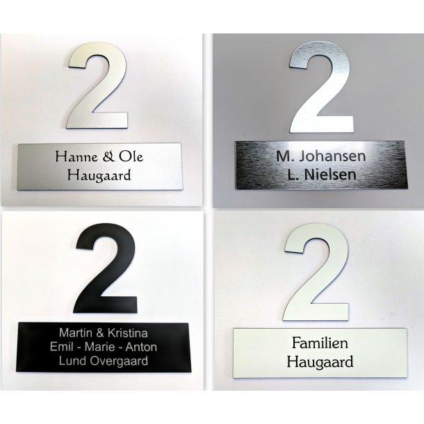 Postkasse-pakke - med 1 skilt og 1 nummer - i 4 farver