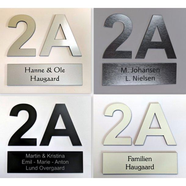 Postkasse-pakke - med 1 skilt og 2 numre - i 4 farver