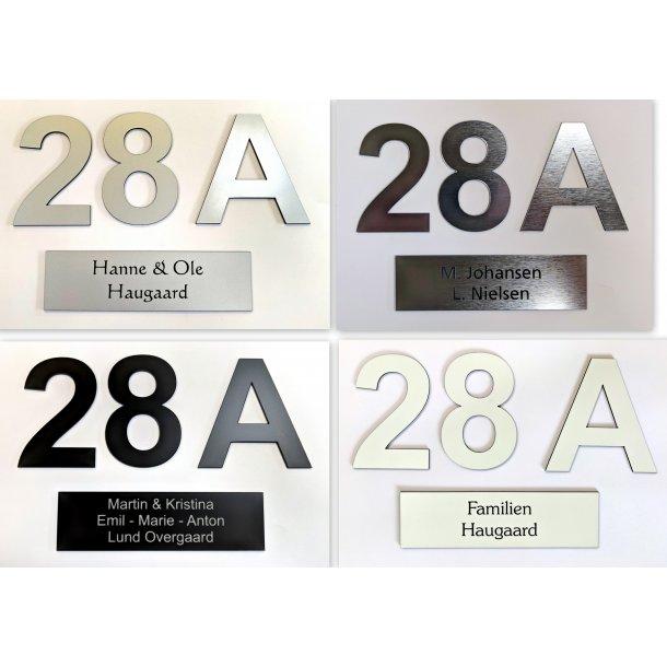 Postkasse-pakke - med 1 skilt og 3 numre - i 4 farver
