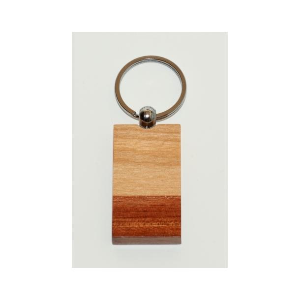 Flot træ-nøglering i 2 farvet, Rosentræ og ahorn