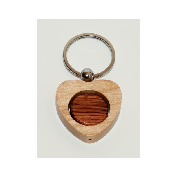 Sjov hjerte nøglering i 2 farvet træ, Rosentræ og ahorn